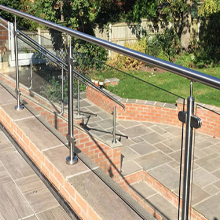 Exterior flooring Mounted Stainless Steel Post Glass Railing System
