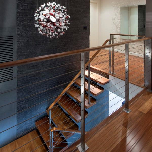 Wire Railing Interior   Indoor Stairwell Cable Railing Use Stainless Steel Square Post Design