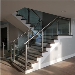 Interior Staircase Tempered Glass Railing With Post Glass Railing