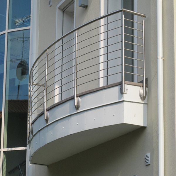 Curved Balcony Side Mounted Stainless Steel Solid Rod Bar