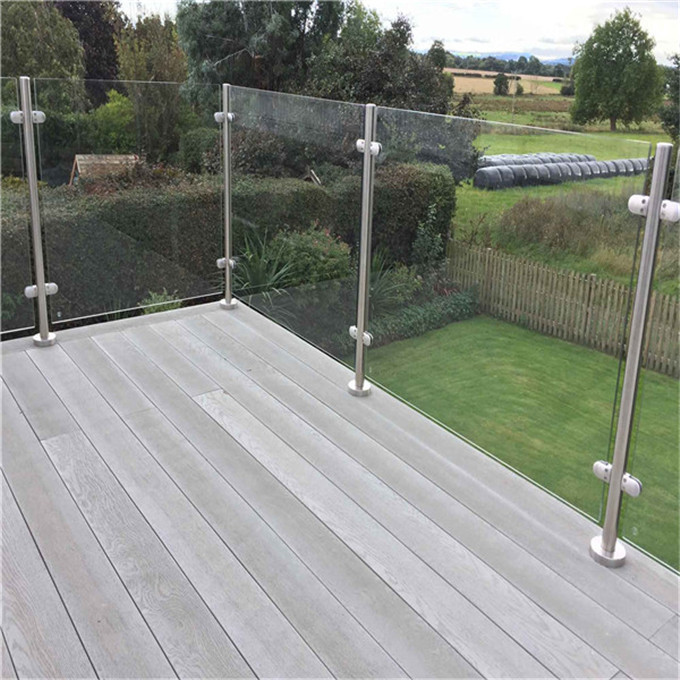 Exterior Flooring Mounted Stainless Steel Post Glass