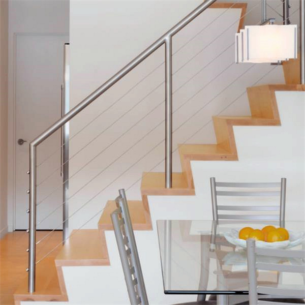 Wooden Handrail Design For Indoor Wood Staircase Stainless Steel Cable  Railing