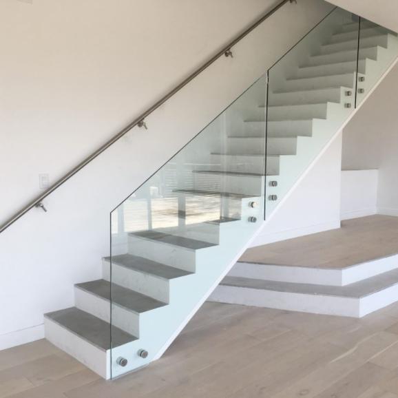 Wooden standoff Glass Stair Railing Design