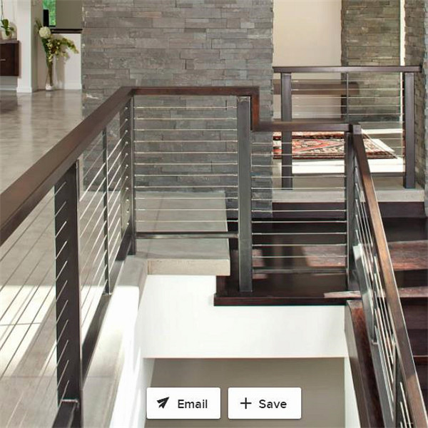 Cable Wire Railing   Indoor Staircase Polished Stainless Steel Cable Railing